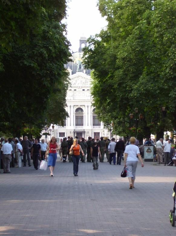 Vista de la ópera de Lviv